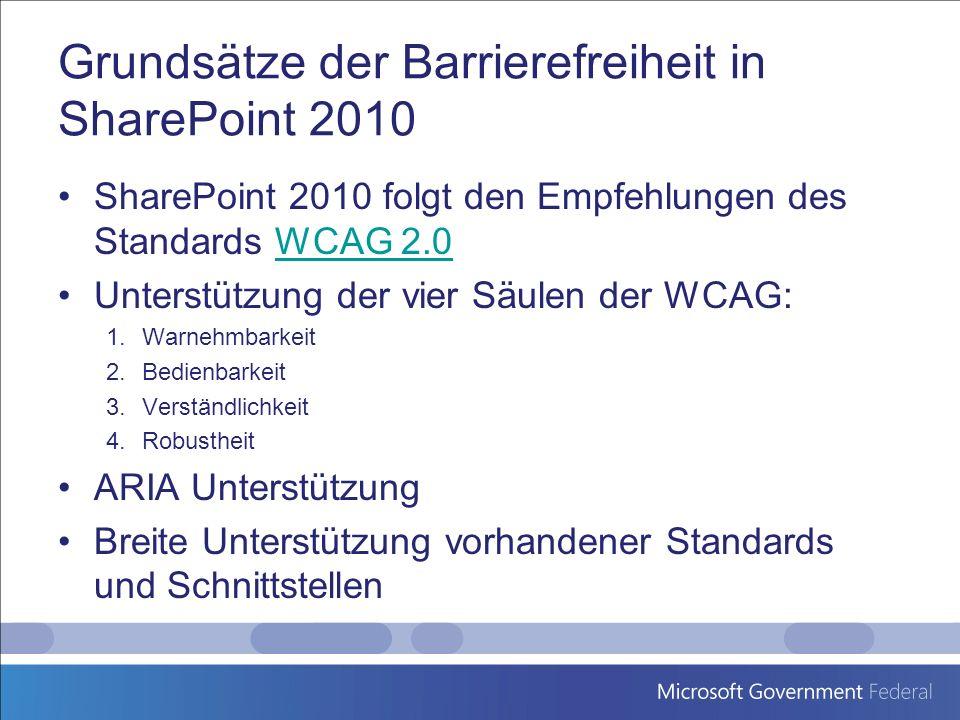 Grundsätze der Barrierefreiheit in SharePoint 2010