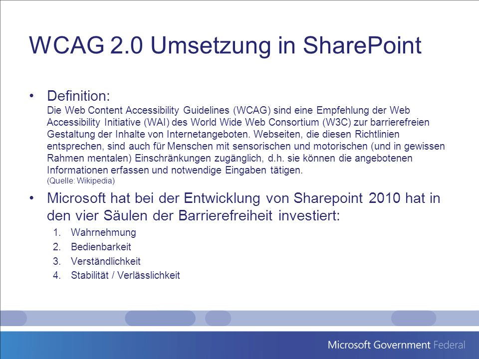 WCAG 2.0 Umsetzung in SharePoint