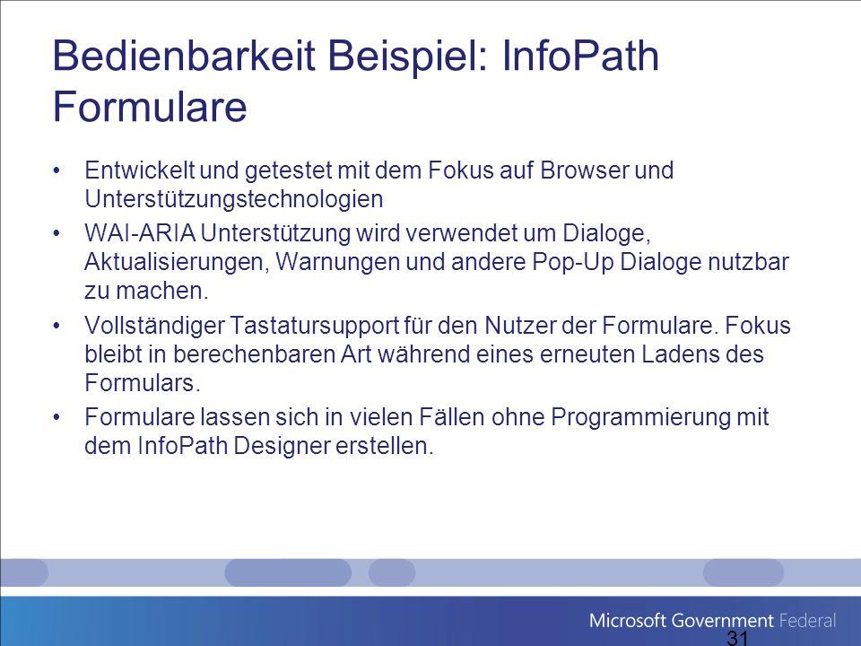 Bedienbarkeit Beispiel: InfoPath Formulare