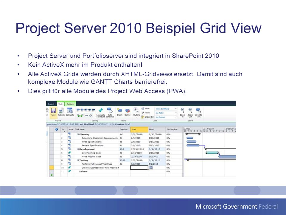Project Server 2010 Beispiel Grid View