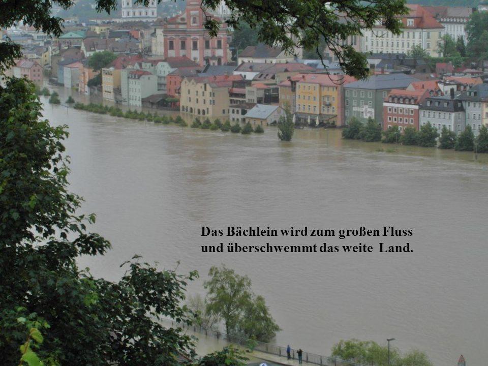 Das Bächlein wird zum großen Fluss und überschwemmt das weite Land.