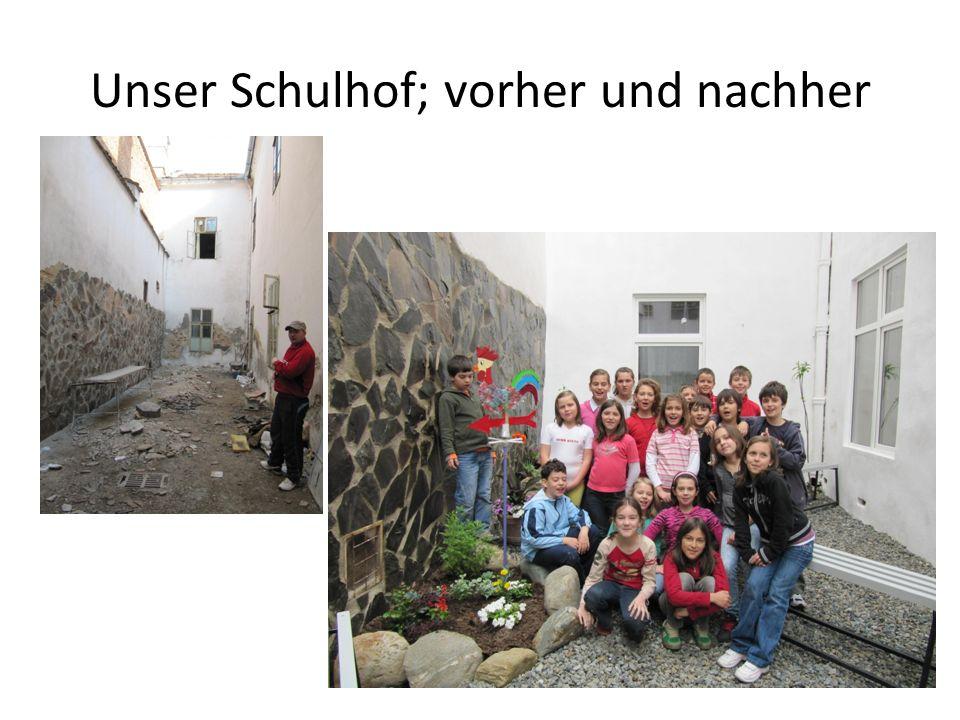 Unser Schulhof; vorher und nachher