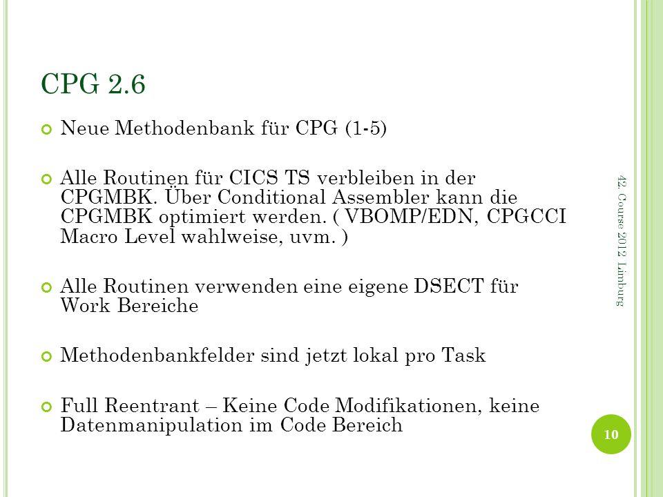 CPG 2.6 Neue Methodenbank für CPG (1-5)