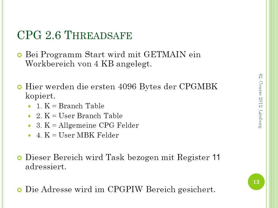 CPG 2.6 Threadsafe Bei Programm Start wird mit GETMAIN ein Workbereich von 4 KB angelegt. Hier werden die ersten 4096 Bytes der CPGMBK kopiert.
