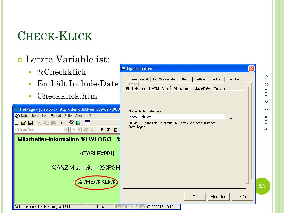 Check-Klick Letzte Variable ist: %Checkklick Enthält Include-Datei: