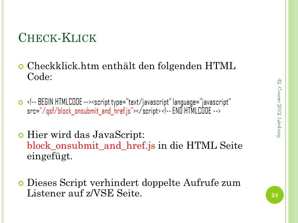 Check-Klick Checkklick.htm enthält den folgenden HTML Code: