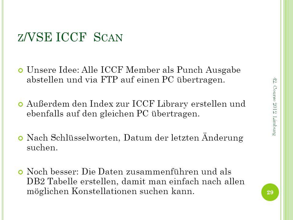 z/VSE ICCF Scan Unsere Idee: Alle ICCF Member als Punch Ausgabe abstellen und via FTP auf einen PC übertragen.