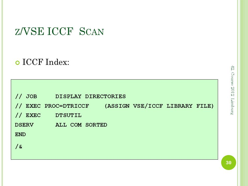 z/VSE ICCF Scan ICCF Index: // JOB DISPLAY DIRECTORIES