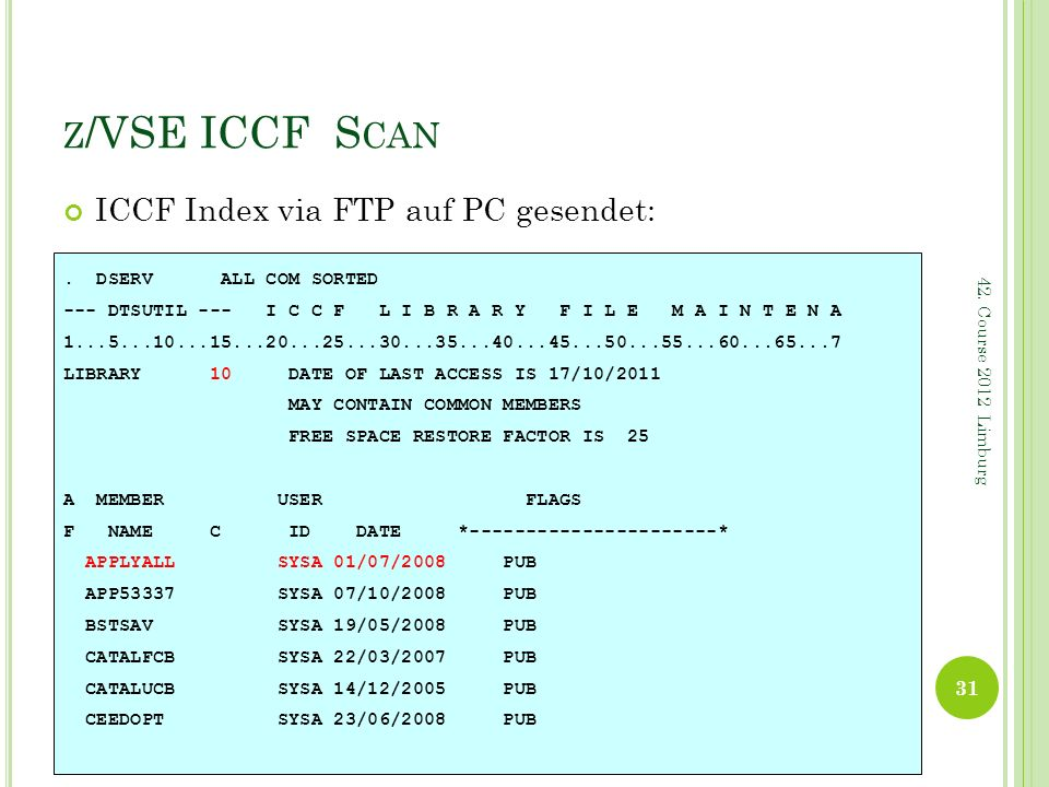 z/VSE ICCF Scan ICCF Index via FTP auf PC gesendet: