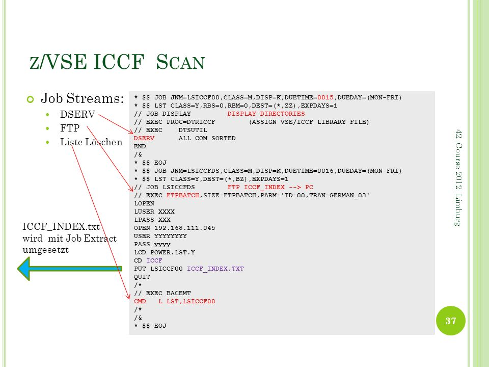 z/VSE ICCF Scan Job Streams: DSERV FTP Liste Löschen ICCF_INDEX.txt