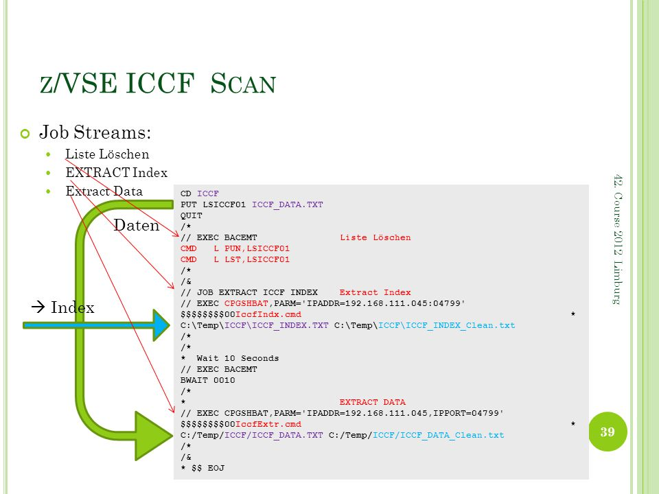 z/VSE ICCF Scan Job Streams: Daten  Index Liste Löschen EXTRACT Index
