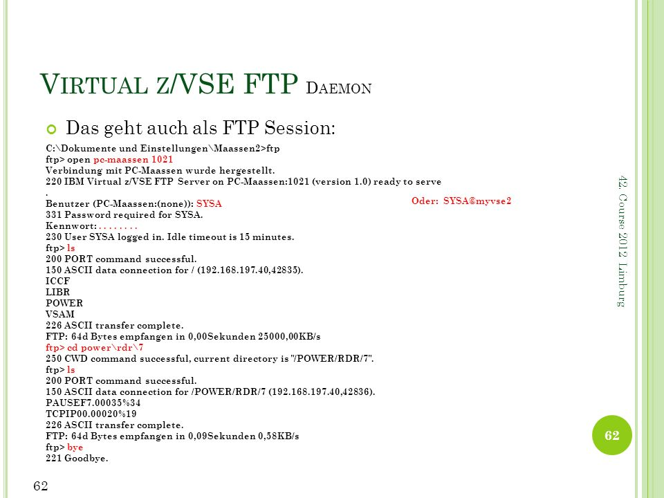 Virtual z/VSE FTP Daemon