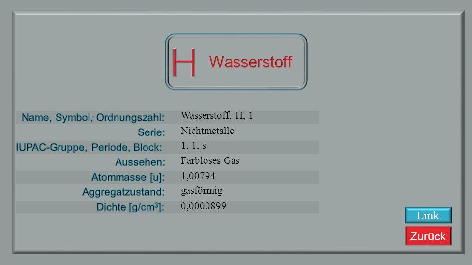 H Wasserstoff Link Wasserstoff, H, 1 Nichtmetalle 1, 1, s