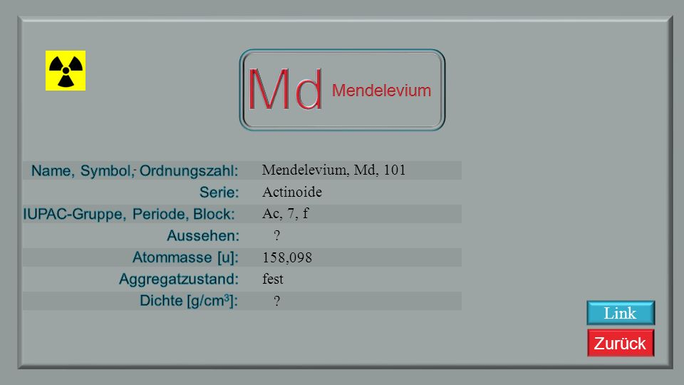 Md Mendelevium Link Mendelevium, Md, 101 Actinoide Ac, 7, f 158,098