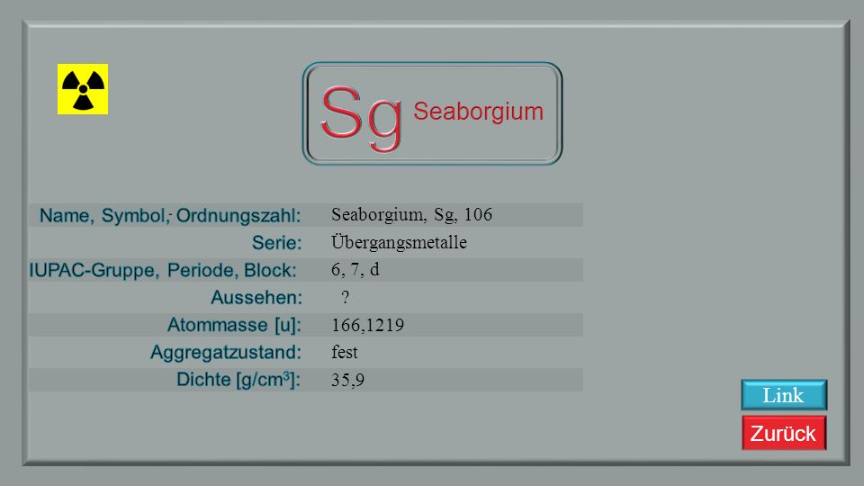 Sg Seaborgium Link Seaborgium, Sg, 106 Übergangsmetalle 6, 7, d