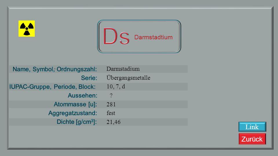 Ds Link Darmstadtium Darmstadium Übergangsmetalle 10, 7, d 281 fest