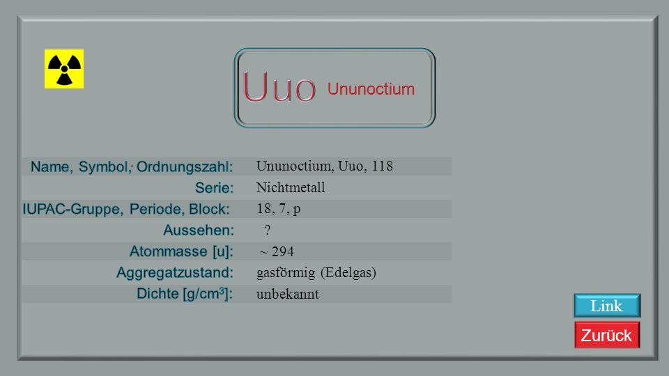 Uuo Ununoctium Link Ununoctium, Uuo, 118 Nichtmetall 18, 7, p ~ 294