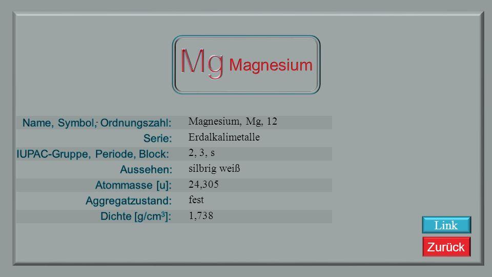Mg Magnesium Link Magnesium, Mg, 12 Erdalkalimetalle 2, 3, s