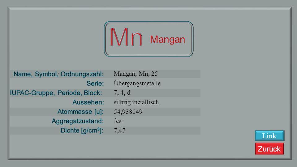 Mn Mangan Link Mangan, Mn, 25 Übergangsmetalle 7, 4, d