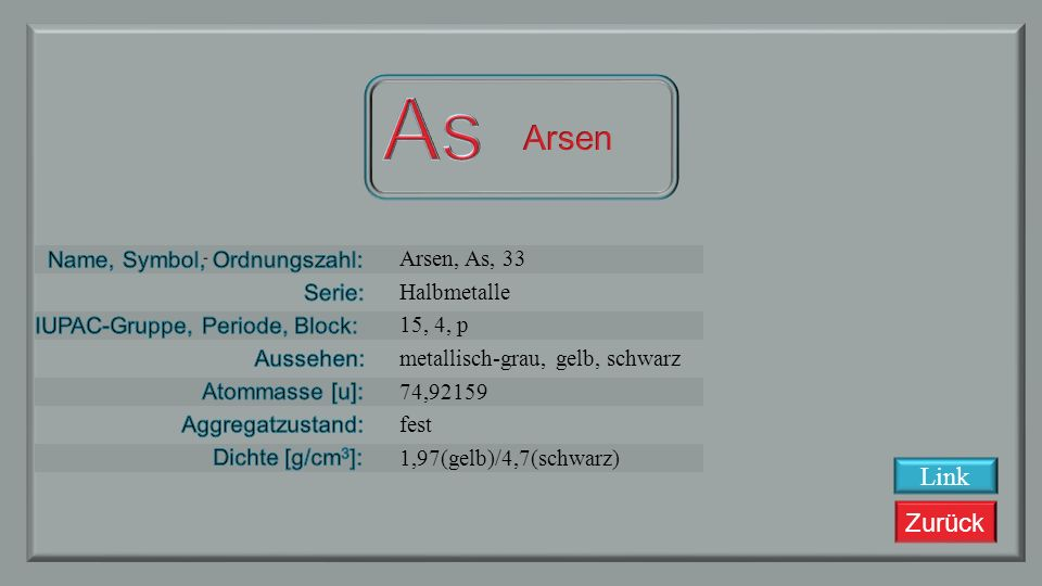 As Arsen Link Arsen, As, 33 Halbmetalle 15, 4, p