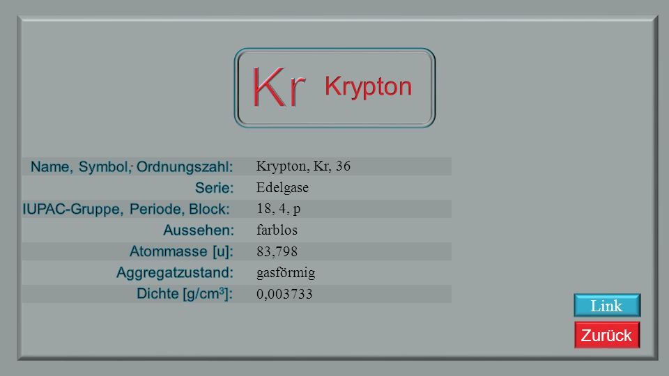 Kr Krypton Link Krypton, Kr, 36 Edelgase 18, 4, p farblos 83,798