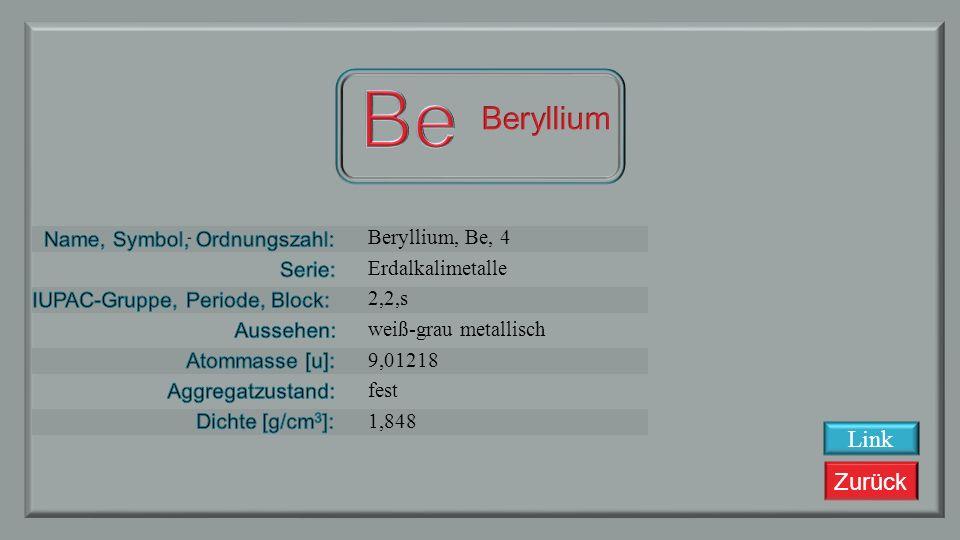 Be Beryllium Link Beryllium, Be, 4 Erdalkalimetalle 2,2,s