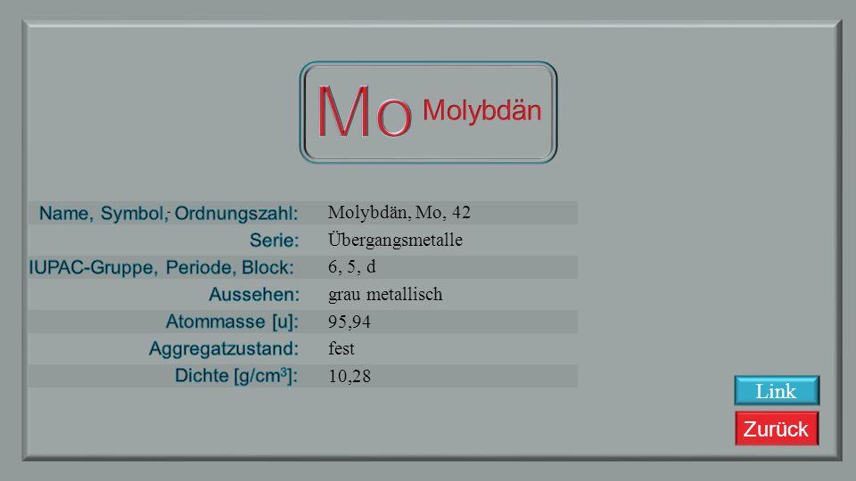 Mo Molybdän Link Molybdän, Mo, 42 Übergangsmetalle 6, 5, d