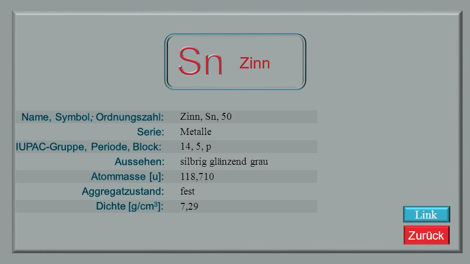 Sn Zinn Link Zinn, Sn, 50 Metalle 14, 5, p silbrig glänzend grau