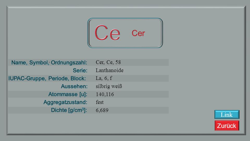Ce Cer Link Cer, Ce, 58 Lanthanoide La, 6, f silbrig weiß 140,116 fest