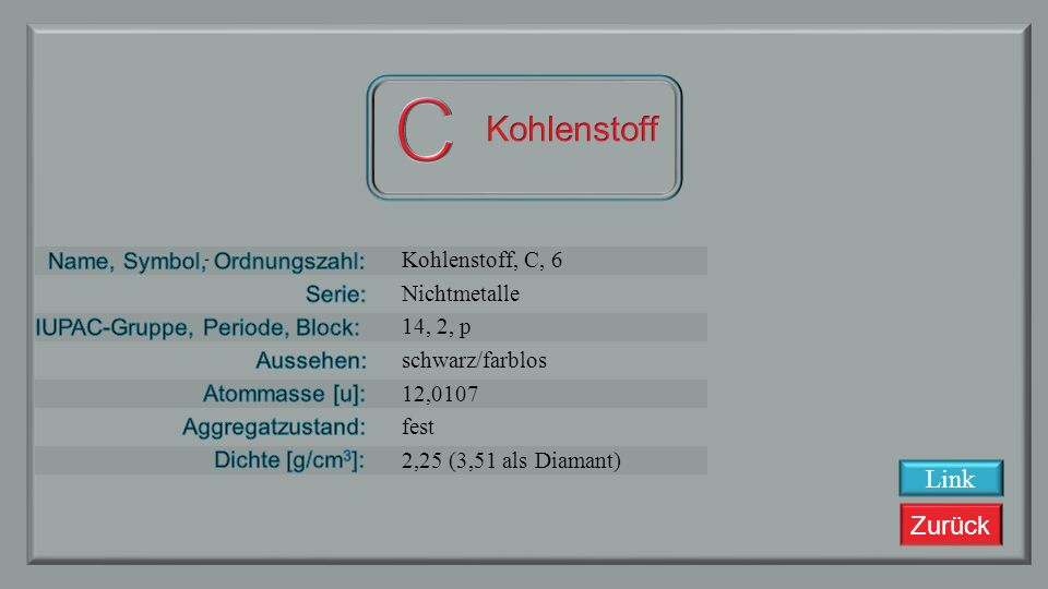 C Kohlenstoff Link Kohlenstoff, C, 6 Nichtmetalle 14, 2, p