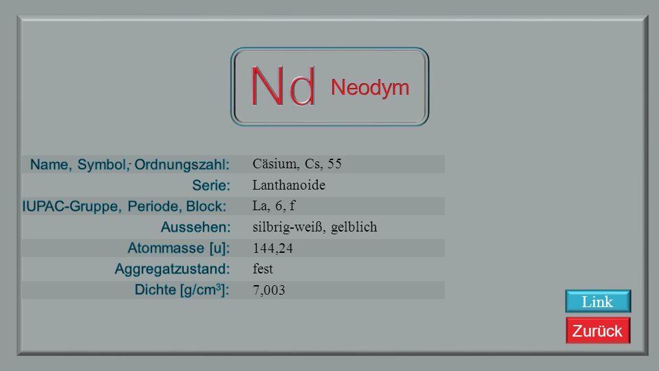 Nd Neodym Link Cäsium, Cs, 55 Lanthanoide La, 6, f