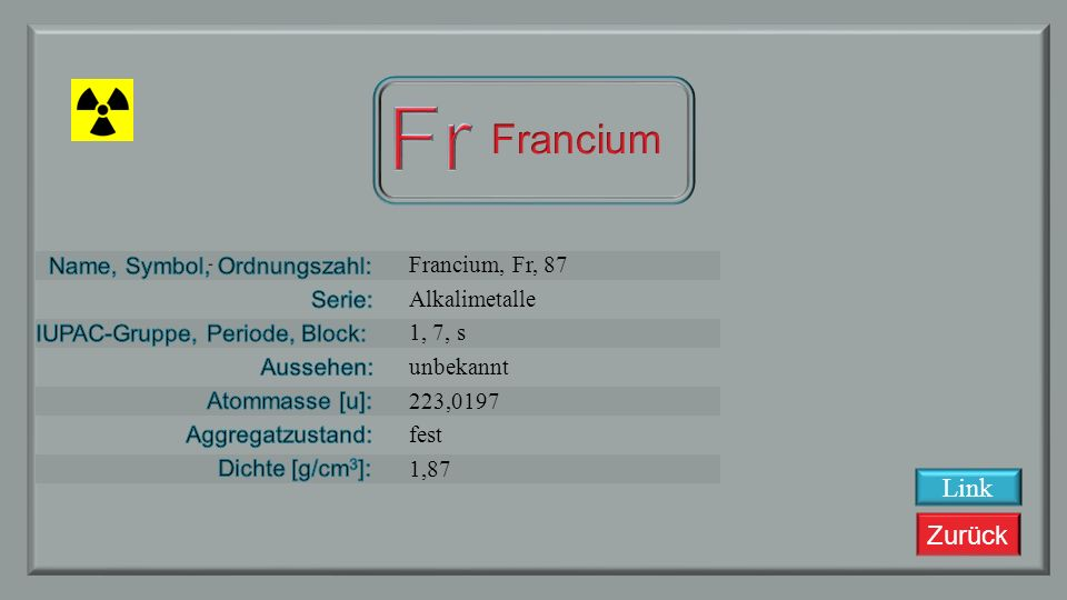 Fr Francium Link Francium, Fr, 87 Alkalimetalle 1, 7, s unbekannt