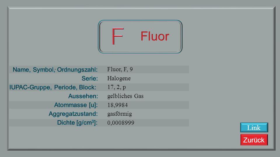F Fluor Link Fluor, F, 9 Halogene 17, 2, p gelbliches Gas 18,9984