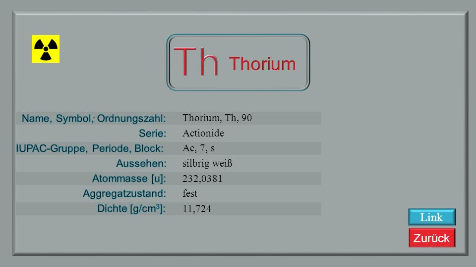 Th Thorium Link Thorium, Th, 90 Actionide Ac, 7, s silbrig weiß
