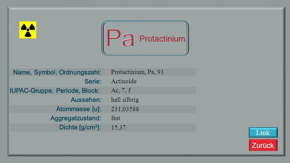 Pa Protactinium Link Protactinium, Pa, 91 Actinoide Ac, 7, f
