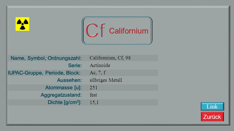Cf Californium Link Californium, Cf, 98 Actinoide Ac, 7, f