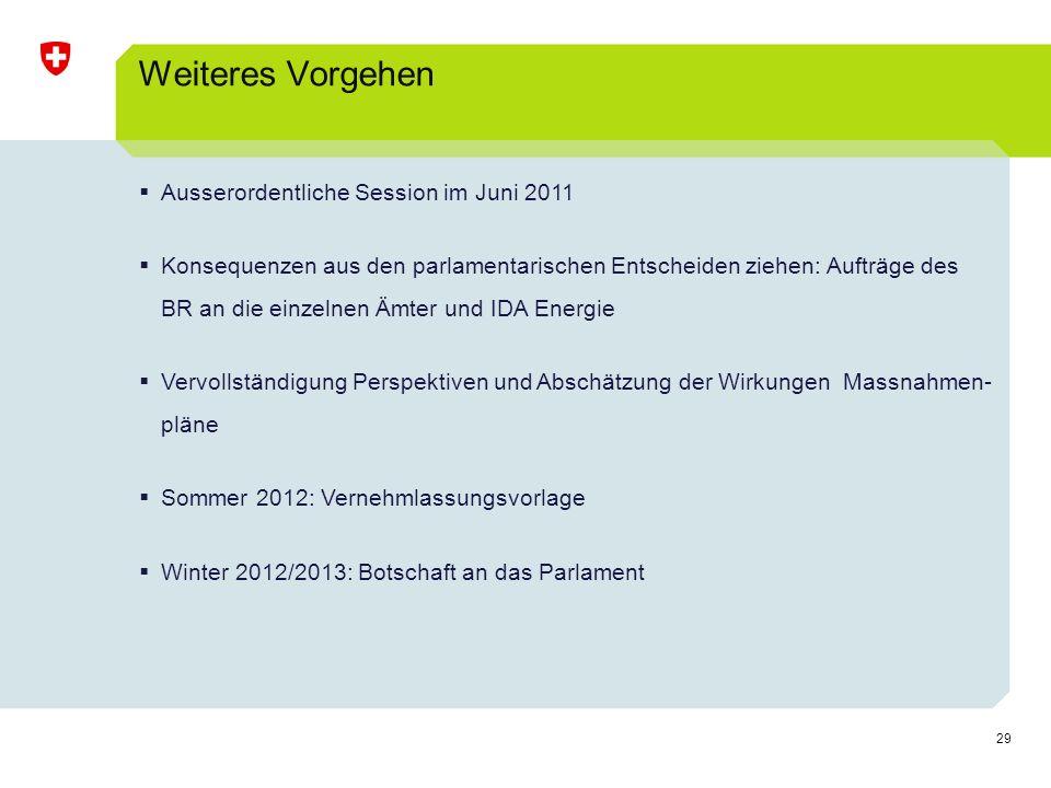 Weiteres Vorgehen Ausserordentliche Session im Juni 2011