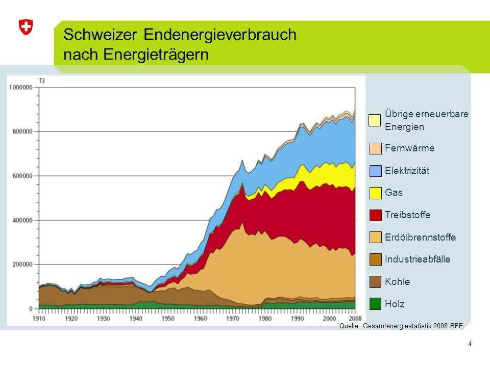 Schweizer Endenergieverbrauch nach Energieträgern
