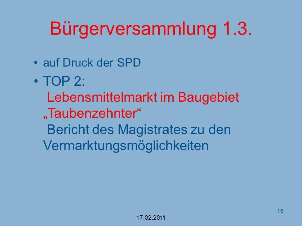 Bürgerversammlung 1.3.auf Druck der SPD.