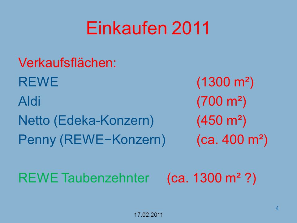 Einkaufen 2011 Verkaufsflächen: REWE (1300 m²) Aldi (700 m²)