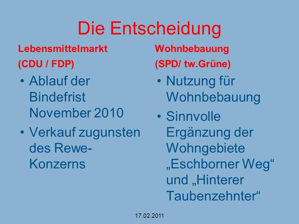 Die Entscheidung Ablauf der Bindefrist November 2010