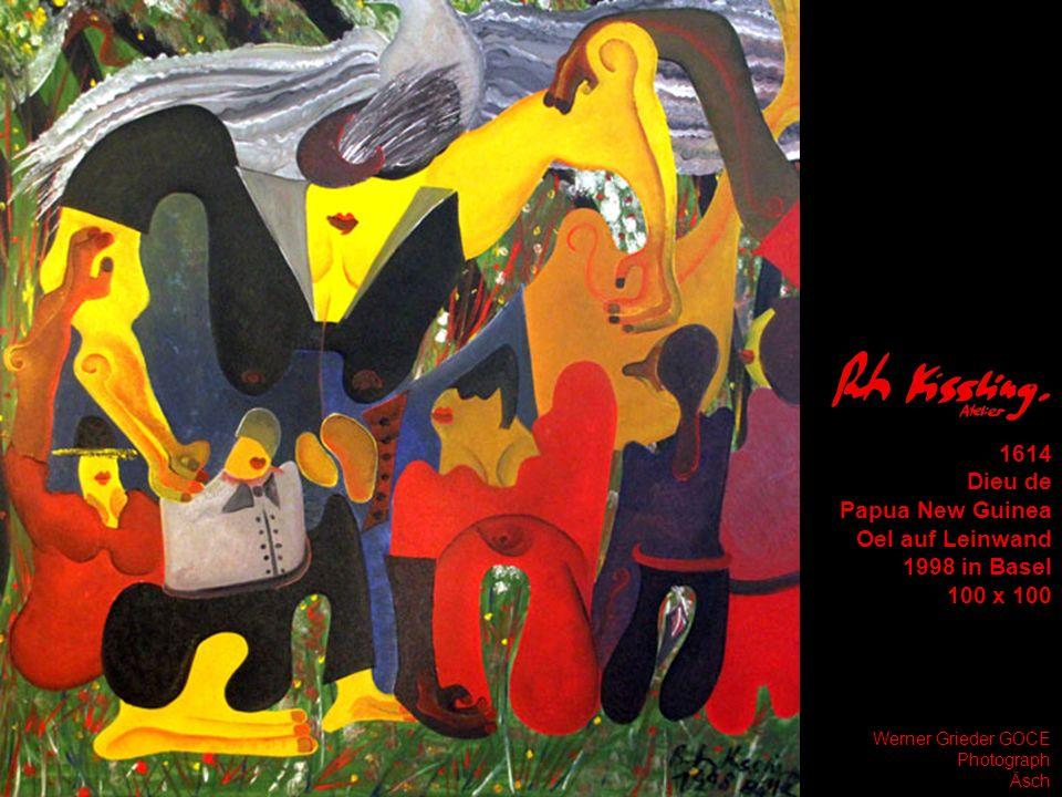 1614 Dieu de Papua New Guinea Oel auf Leinwand 1998 in Basel 100 x 100