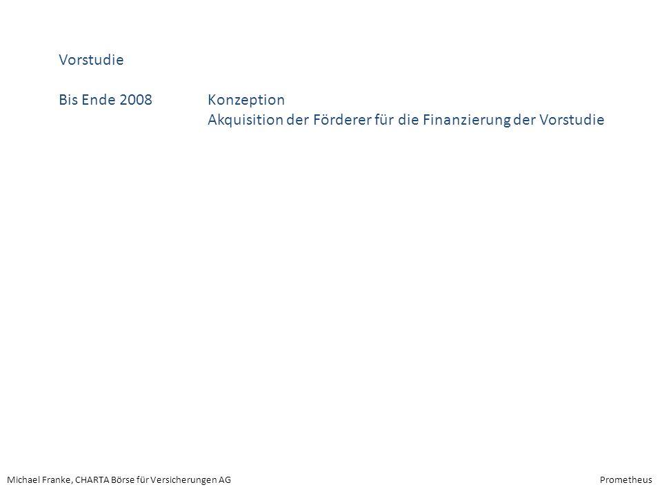 Vorstudie Bis Ende 2008 Konzeption Akquisition der Förderer für die Finanzierung der Vorstudie
