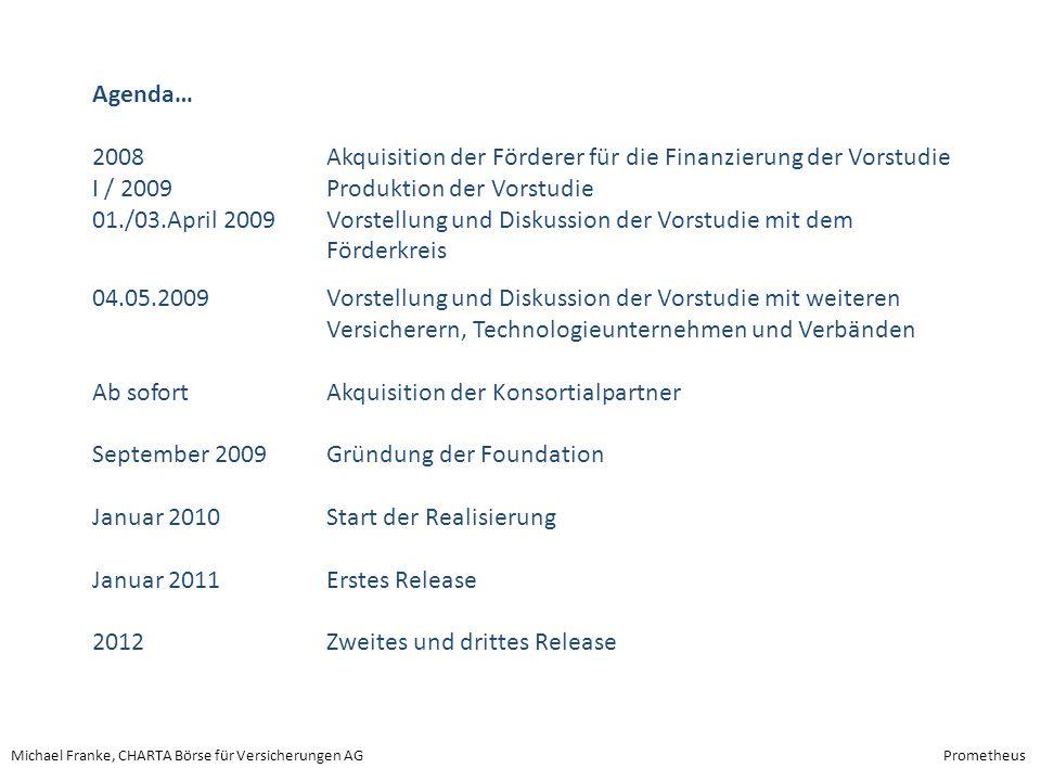 Agenda… 2008 Akquisition der Förderer für die Finanzierung der Vorstudie. I / 2009 Produktion der Vorstudie.