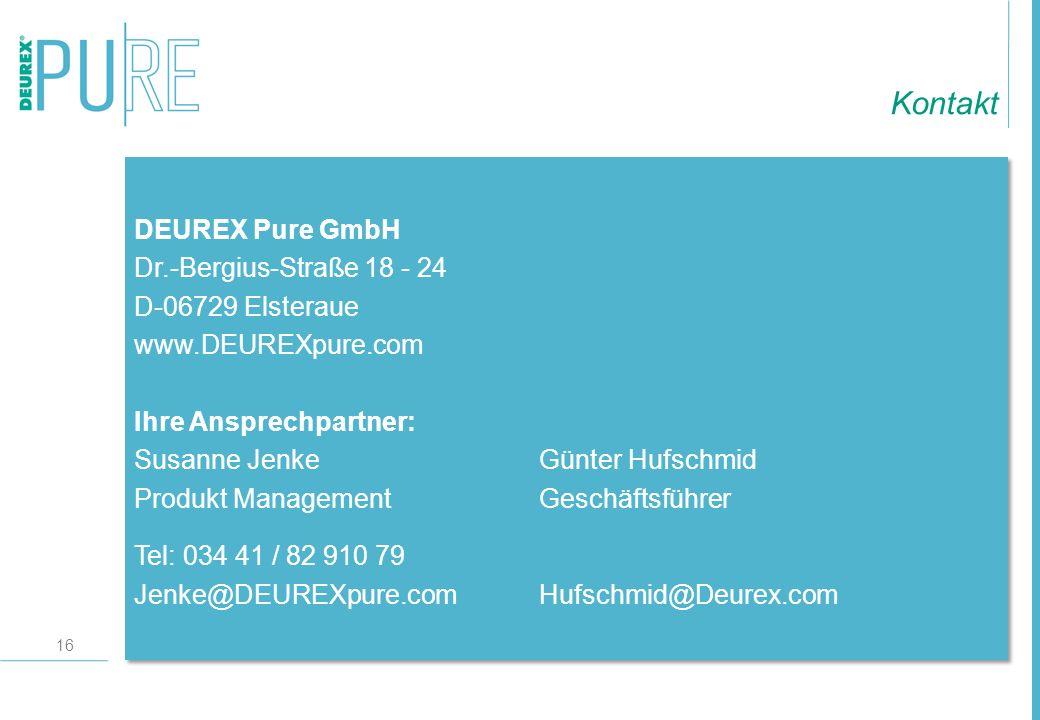 Kontakt DEUREX Pure GmbH Dr.-Bergius-Straße 18 - 24 D-06729 Elsteraue