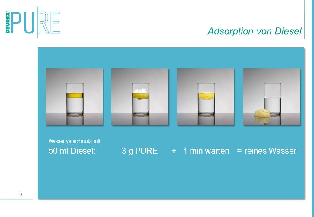Adsorption von Diesel Wasser verschmutzt mit 50 ml Diesel: 3 g PURE + 1 min warten = reines Wasser
