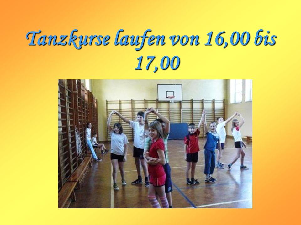 Tanzkurse laufen von 16,00 bis 17,00