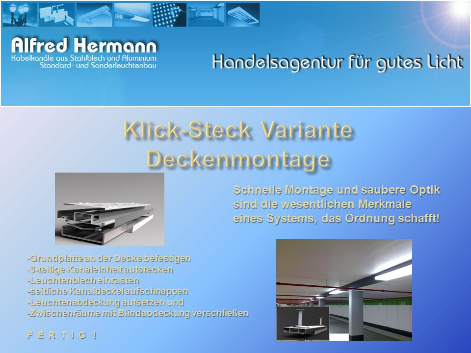 Klick-Steck Variante Deckenmontage