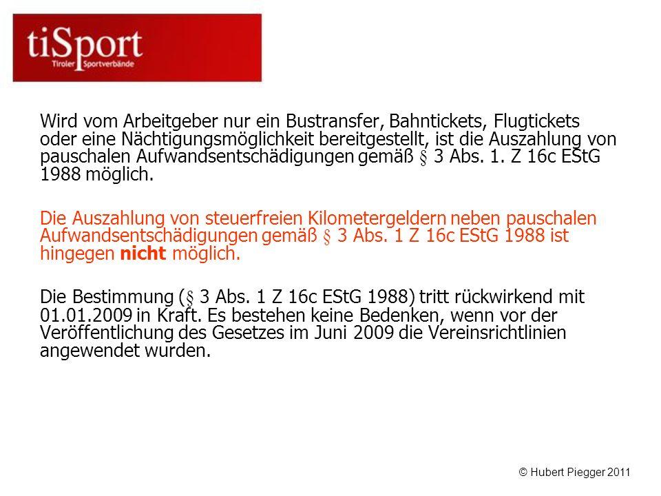 Wird vom Arbeitgeber nur ein Bustransfer, Bahntickets, Flugtickets oder eine Nächtigungsmöglichkeit bereitgestellt, ist die Auszahlung von pauschalen Aufwandsentschädigungen gemäß § 3 Abs. 1. Z 16c EStG 1988 möglich.