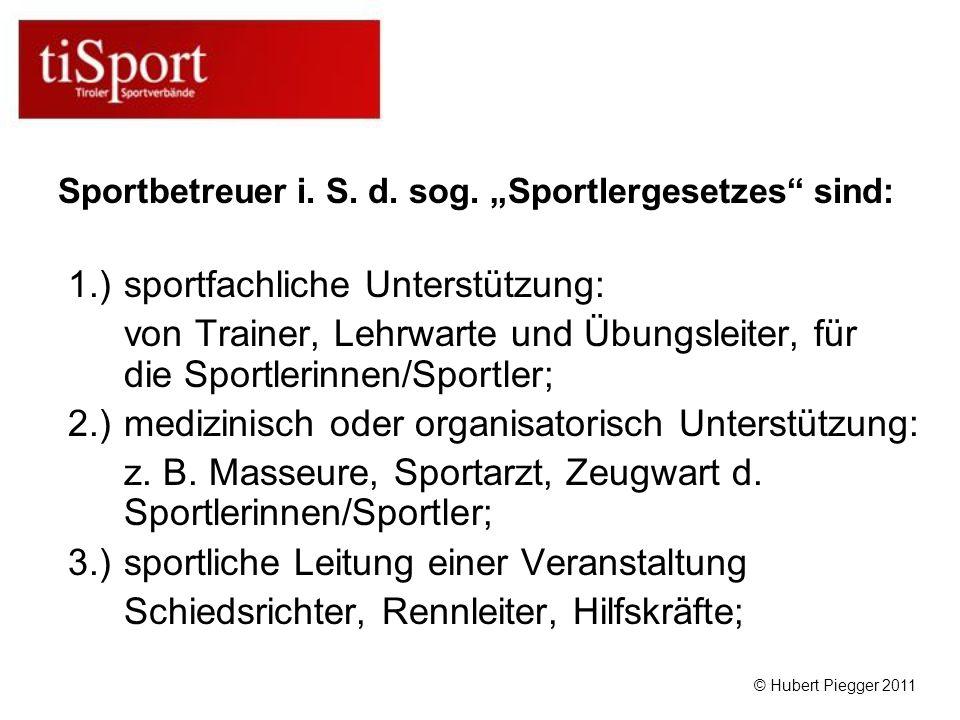 1.) sportfachliche Unterstützung: